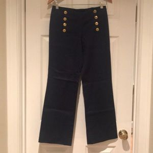 Navy pants with 8 button open front pants